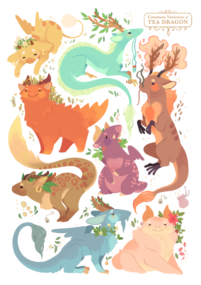 tea_dragons_print_by_strangelykatie-d9yi245